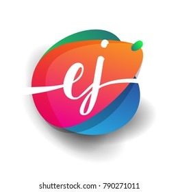 Letter EJ logo with colorful splash background, letter combination logo design for creative industry, web, business and company.