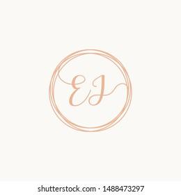 Letter EJ logo template, Creative fashion logo design, couple letter , wedding concept -vector