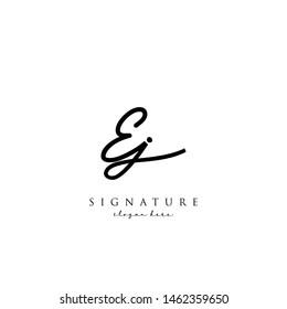 Letter EJ Signature Logo Template - Vector