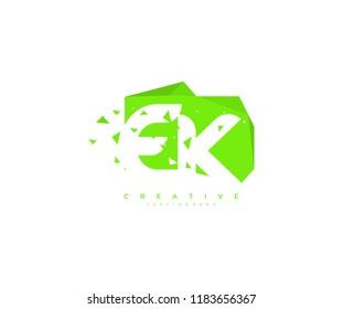 Letter EK Abstract Rectangle Shape with Modern Geometric Pattern Pixel Logo