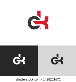 Letter ek linked lowercase logo design template elements. Red letter Isolated on black  background. Suitable for business, consulting group company.