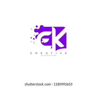 Letter EK Logo Design Vector with Abstract Square Shape Dots