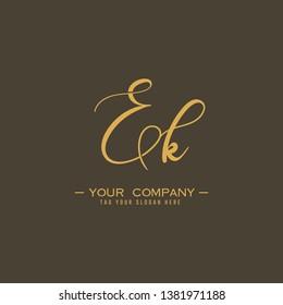Letter Ek Logo. Initial Letter Design Vector Luxury Colors