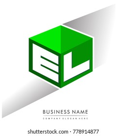 Letter EL logo in hexagon shape and green background, cube logo with letter design for company identity.