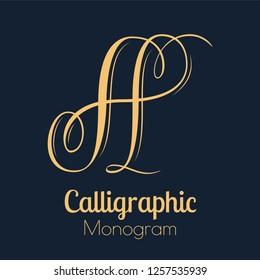 Letter A - elegant copperplate monogram design