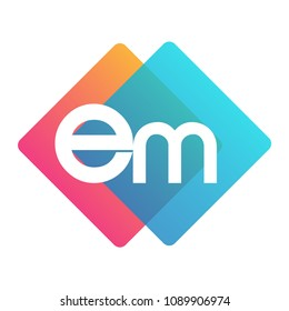 Letter EM logo with colorful geometric shape, letter combination logo design for creative industry, web, business and company.