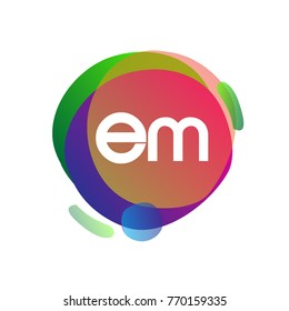 Letter EM logo with colorful splash background, letter combination logo design for creative industry, web, business and company.