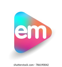 Letter EM logo in triangle shape and colorful background, letter combination logo design for business and company identity.