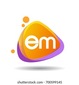 Letter EM logo in triangle splash and colorful background, letter combination logo design for creative industry, web, business and company.