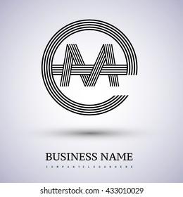 Letter EM or ME linked logo design circle E shape. Elegant black colored, symbol for your business name or company identity