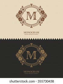 Letter emblem M template, Monogram design elements, Calligraphic graceful template, Elegant line art logo, Business sign for Royalty, Boutique, Cafe, Hotel, Heraldic, Jewelry, Wine