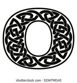 Letter of the English alphabet with Celtic national ornament as interlaced ribbon isolated on white background.