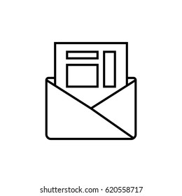 Letter in envelope outline icon. Invoice.