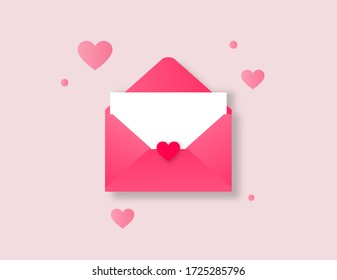 Letter envelope sent by mail in pink color, for messages of love, fraternity or friendship