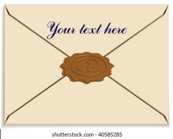 letter envelope with a stamp wax as e-mail sign
