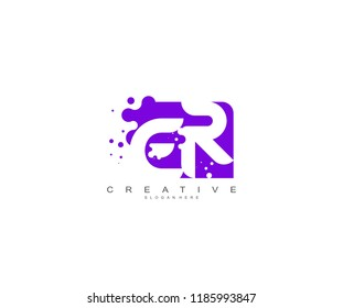 Letter ER Logo Design Vector with Abstract Square Shape Dots