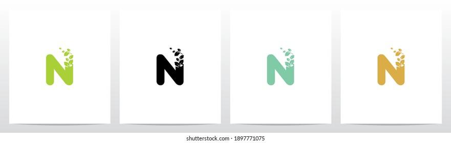 Letter Eroded Into Leaf Letter Logo Design N