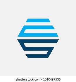 letter ES logo abstract, vector alphabet
