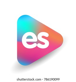 Letter ES logo in triangle shape and colorful background, letter combination logo design for business and company identity.