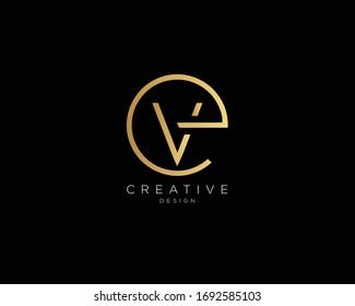 Letter EV Logo Design, Creative Minimal EV Monogram In Gold Color