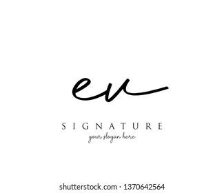 Letter EV Signature Logo - Vector