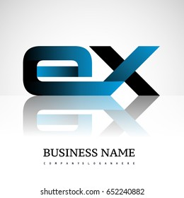letter EX company linked letter logo icon blue and black. Vector design for company identity.