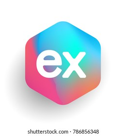 Letter EX logo in hexagon shape and colorful background, letter combination logo design for business and company identity.