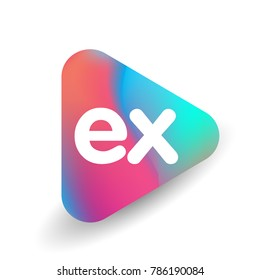 Letter EX logo in triangle shape and colorful background, letter combination logo design for business and company identity.
