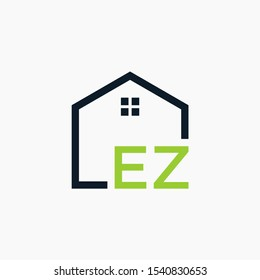 letter EZ Line House Real Estate Logo. home initial E Z concept. Construction logo template, Home and Real Estate icon. Housing Complex Simple Vector Logo Template. - vector