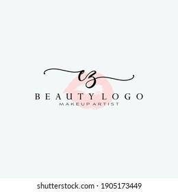 Letter EZ Watercolor Lips Premade Logo Design, Logo for Makeup Artist Business Branding, Blush Beauty Boutique Logo Design, Calligraphy Logo