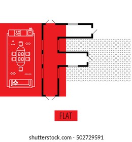 letter F, architectural plan, vector conceptual type. Thin line interior icons, top view