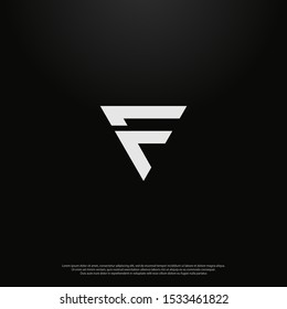 Letter F arrow Logo icon monogram design. Vector graphic design template element. black background.