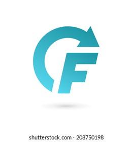 Letter F arrow logo icon design template elements. Vector color sign.