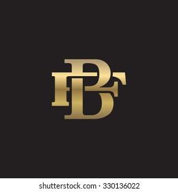 letter F and B monogram golden logo