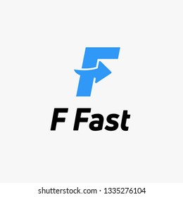 Letter F Blue logo with negative space arrow logo for business, transportation, delivery company . - Vector Illustration