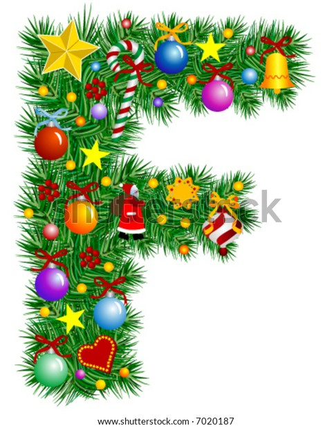 Letter F - Christmas tree decoration - Alphabet