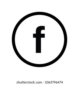 Letter F with circle for Social media icon. Isolated Vector Illustration