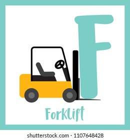 Letter F cute children colorful transportations ABC alphabet flashcard of Forklift for kids learning English vocabulary Vector Illustration.