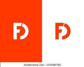 Letter F and D logo or FD initials two modern monogram symbol concept. Creative bold Line sign design. Graphic Alphabet Symbol for Corporate Business Identity. Vector illustration