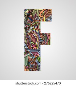"""Letter """"F"""" from doodle alphabet"""