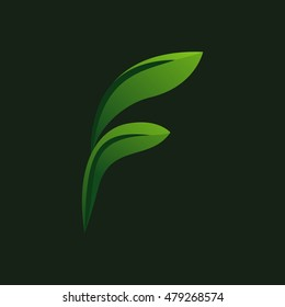 Letter F eco leaves logo icon. Green eco font.