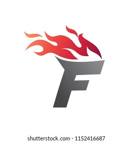 Letter F With Fire Logo Template