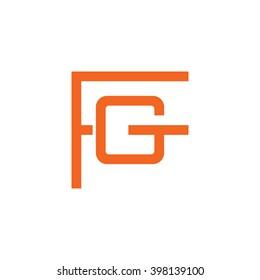 letter F and G monogram logo orange