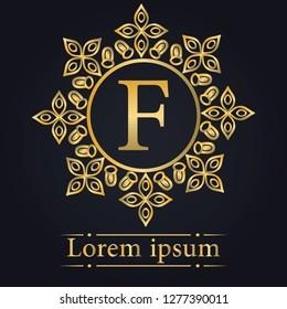 Letter F Golden Monogram