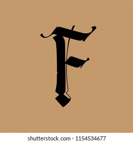 Letter F, in the Gothic style. Vector. Alphabet. The symbol is isolated on a golden background. Calligraphy and lettering. Medieval Latin letter. Logo for the company. Elegant font for tattoo.