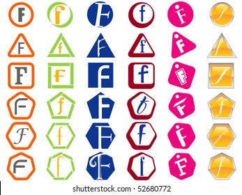 Letter F Icon Design Badges and Tags Set