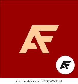 Letter A and F logo. AF ligature symbol. Stylized lettering one piece shape flat sign.