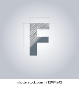 Gear icon logo sketch blueprint architect stock vector 366814526 letter f logo alphabet logotype architectural design grey color blueprint with gradient malvernweather Images