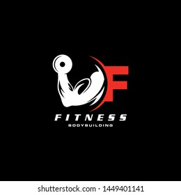 Letter F Logo With barbell. Fitness Gym logo. Love fitness logo template. fitness vector logo design for gym and fitness.