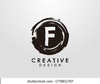 Letter F Logo With Circle Grunge Splatter Element. Retro logo design template.